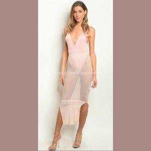 Bodysuit Maxi Dress Blush Pink Sheer Mesh Body-Con